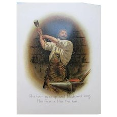 The Village Blacksmith by Henry W. Longfellow in Small Booklet Color Prints Castell Brothers Printed in Bavaria Free Shipping USA