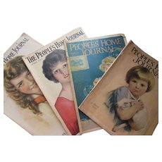People's Home Journal Magazine Four Issues All April 1917, 1923, 1925, 1927 Cream of Wheat Ads, Jell-O Grape Nuts Gold Dust