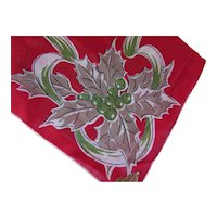 Christmas Handkerchief Holiday Red December Flower of  the Month by Kimball