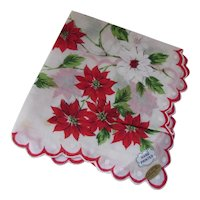 Christmas Handkerchief Red Poinsettias Hand Printed Philippines Original Tags