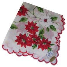 Christmas Handkerchief Red Poinsettias Hand Printed Philippines Original Tags