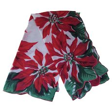 Christmas Handkerchief Red Poinsettias & Holly with Green Leaves