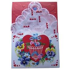 Valentine Handkerchief Pocket Card & Sachet 1966