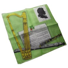 Handkerchief Homage to Mozart Composer by Lady Heritage Made in Switzerland