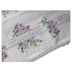 Pillow Cases Embroidered Cross Stitch Purple Yellow