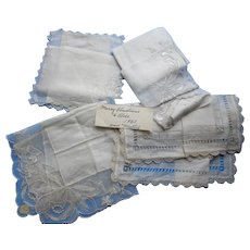 Grouping White Handkerchiefs Christmas 1952 Irish Linen Madeira Lace
