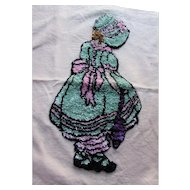 Adorable Girl in Bonnet and Bloomers Pink and Mint Green Punch Work Pillow Top