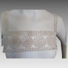 Lovely Tatted Nightgown Yoke in Cream Tone Rosette Design Early 20th Century