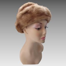 Mink Winter Hat in Fawn Color Rolled Brim Style Copper Satin Lining