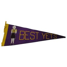 Felt Pennant Comical Cheerleader and Best Yets in Purple and Gold Hand Made Free Shipping USA