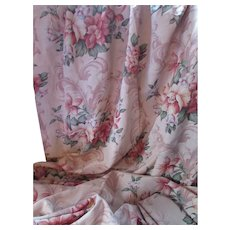 Pair MCM Draperies in Baroque Floral Design Faille For Salvage