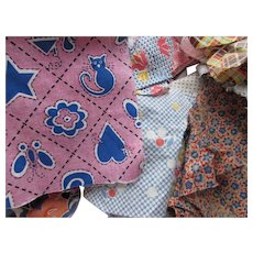 Fabric Scraps Multiple Prints '40s - '70s for Quilting Sewing Projects Restoration Work