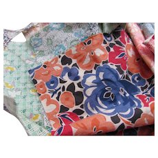 Grouping Fabric Scraps Multiple Prints Variety Sizes for Restoration or Repurposing
