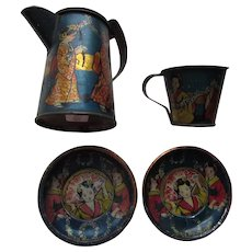 Partial Child Tin Tea Set Lithograph Asian Influence