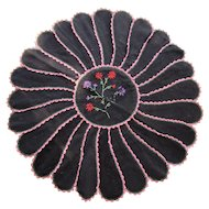 Farmhouse Style Folk Art Theme Felt Round in Black with Coral and Green Handmade Accents