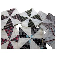Grouping Pinwheel Quilt Blocks in Stripe and Plaid Prints Machine Stitched