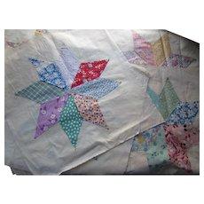 Quilt Blocks Eight Sided Star 1930-1950 Prints on Cotton Hand Sewn 19 Blocks