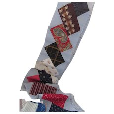 Quilt Blocks Stepped Rectangle Design Blue Red Brown Prints