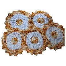 Set Five Crochet Doilies Orange and White Three Sizes