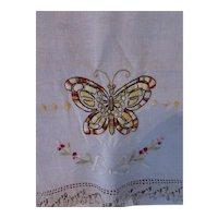 Linen Embroidered Runner Butterfly Crochet Edge