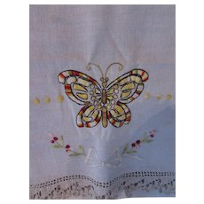 Linen Embroidered Runner Butterfly Crochet Edge