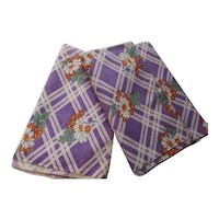 Pair Feed Sacks Purple Plaid & Orange Flowers