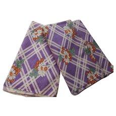 Pair Feed Sacks Purple Plaid & Orange Flowers