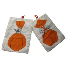 Pair Applique Hot Pads Sunbonnet Girl & Boy Orange & Print