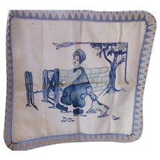 Pillow Cover Dutch Theme in Delft Blue on Linen