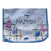 Linen Napkin Holder Hand Embroidered in Blue and Pink Flowers