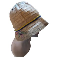 Authentic 1920 1930 Straw Cloche Hat with Embroidered Flowers