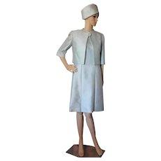 1960 Sheath, Bolero and Hat Set Downcaster Robin Egg Blue Shantung Fabric AS IS