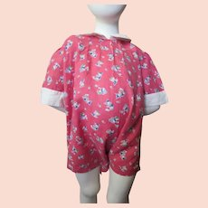 Cutest Toddler Romper in Fun Print Rosy Pink with White Collar Cuffs