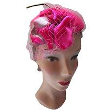 Mid Century Tilt Hat Ruby Red Velvet & Fuchsia Velvet Rose