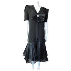 Cocktail Dress 1990 Style in Black Knit Tunic over Organdy Flounce Slip Evenings by Raul Blanco