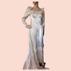 Lovely Wedding Gown in Candlelight Satin 1940 1950 Era with Illusion Yoke, Lace, Bows and Long Train
