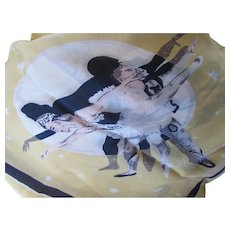 Ballet Theme Large Scarf in Butter Yellow Black Gray and Blush Nude