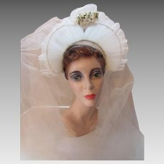 !950 Style Coronet Wedding Veil Bridal Headpiece in White Net with Millinery Flower Sprig Decoration and Double Net Veil