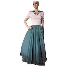 Wonderful 1940 Era Evening Dress Forest Green Sequins