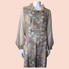 Sugar Coated Long Dress in Earth Tones of Beige, Sage and Gold Hand Tailored 1970 Style
