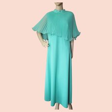 Long Evening Gown 1970 Style in Flowing Mint Chiffon