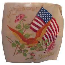 American Flag American Beauties Pillow Top Early 20th Century Embroidered Pillow Top with Yellow Bird and Red Roses