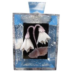 Acrylic Perfume Bottle with Lavender Snow Drops in Shadow Box Mid Century Style