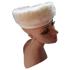 White Fur and Satin Pill Box Hat by Noreen Fashion