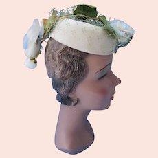 Little Topper Hat Tear Drop Shape White Flower Dangles