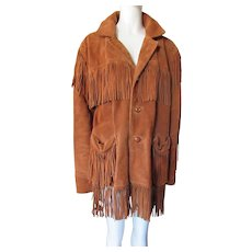 Genuine Leather Fringed Jacket Berman Buckskin 1970's Label Size 44