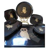 Vintage Courac Trays Owl Design Monterey California Set of Eight