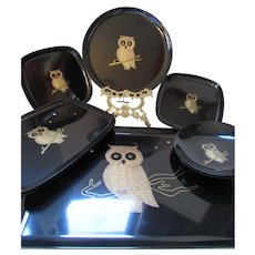Vintage Courac Trays Owl Design Monterey California Set of Eight