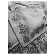 Shades of Gray Vintage Table Cloth and Napkins Leacock Quality Hand Prints Original Tag