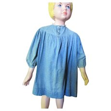 Very Old Child Dress in Faded Blue Calico Cotton Prairie Style